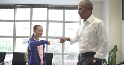 Barack Obama fist-bumped Greta Thunberg at their meeting and everyone loved it